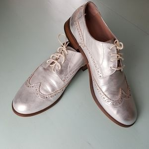 Silver Leather Oxfords 8.5